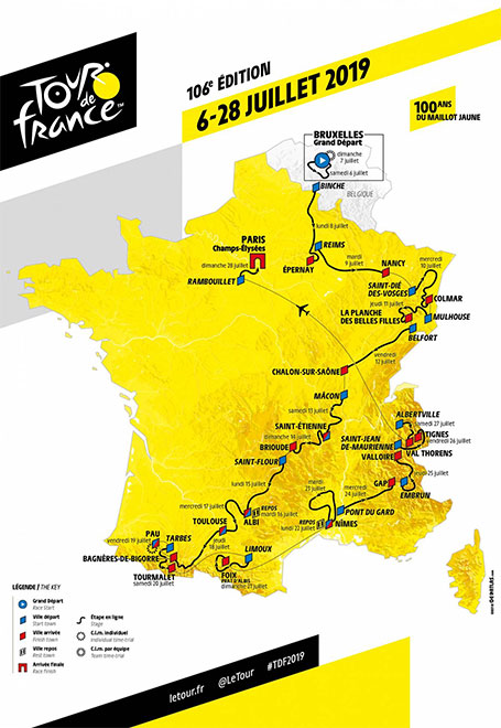 Tour de France 2019 etappeschema